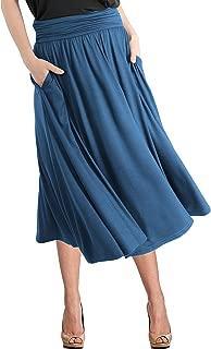 TRENDY UNITED Women's Rayon Spandex High Waist Shirring Flared Pocket Skirt