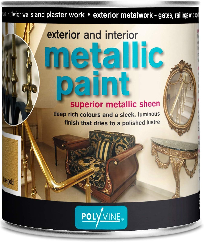 Polyvine Metallic Paint Interior And Exterior 250ml Half Pint Pale Gold Amazon Com