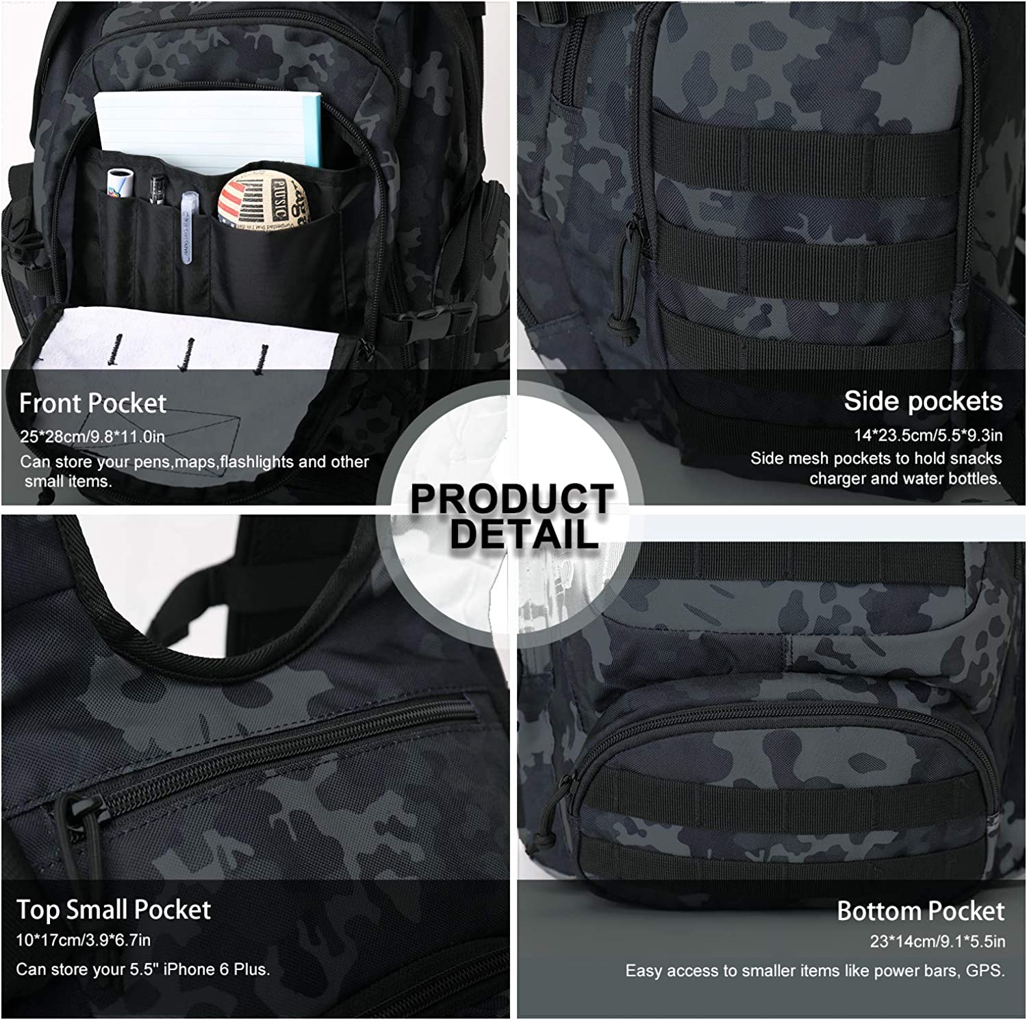 Mardingtop 25//30L Tactical Backpacks Molle Hiking daypacks for Camping Hiking Military Traveling Motorcycle