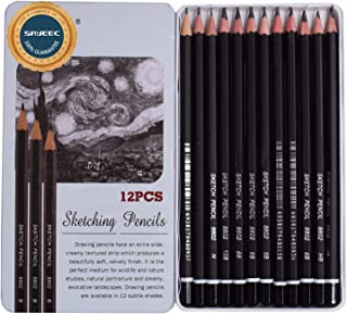 Sketching Pencils, SAYEEC 12 Pieace Graphic Soft Graphite Art Pencils Sketching Art Wooden Pencils 10B-3H (3H,2H,H,HB,B,2B,3B,4B,5B,6B,8B,10B)