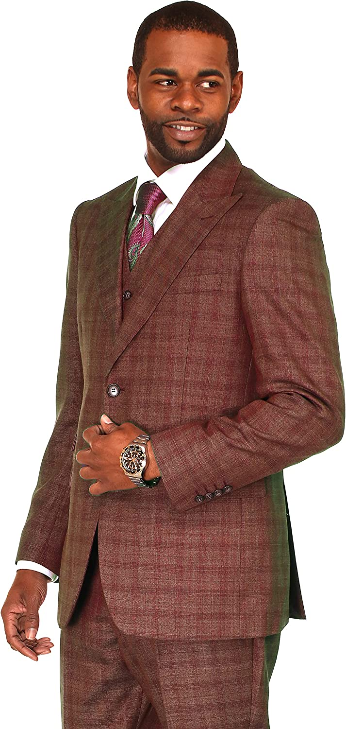 DANNY COLBY Mens 3 Piece Solid Sharkskin Suit Classic Fit, for Weddings Formals Business Events Regular Traditional Big and Tall Fit 48L Dark Orange