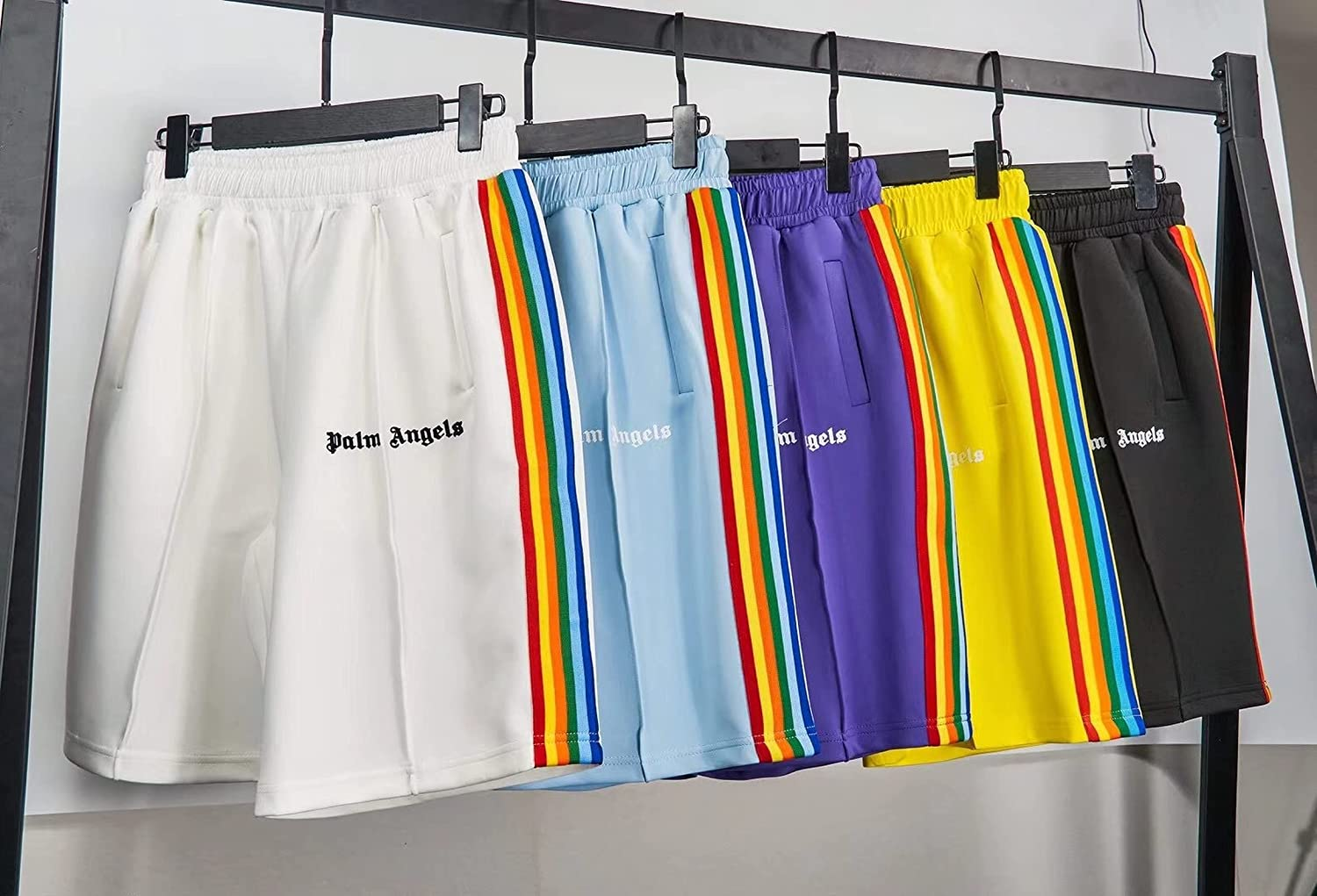 PA Angels Men's Shorts Rainbow Striped Casual Shorts Drawstring Elastic with Pockets for Unisex Classic Beach Pants