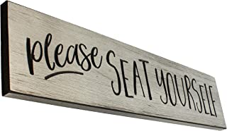 Large Please Seat Yourself Engraved Wood Wall Sign Funny Bathroom Decor/Restaurant