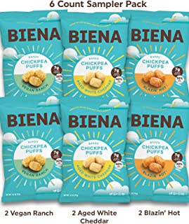 BIENA Baked Chickpea Puffs Sampler Pack, 3.2 Ounce, 6 Count