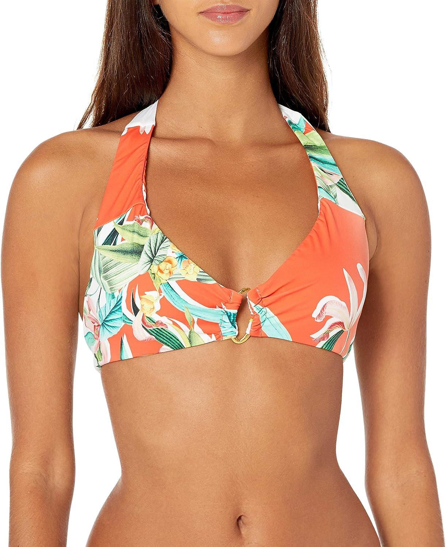Trina Turk Women's Ring Front Halter Bra Bikini Swimsuit Top