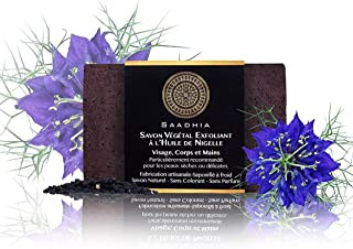 Savon Végétal Exfoliant à l'huile de Nigelle|Saponifié à froid & 100% Naturel|100g |Fabrication artisanale|Tous type de pe...