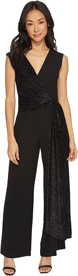 Tahari by ASL Petite - Petite Jumpsuit with Velvet Train