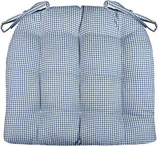 Barnett Home Decor Madrid Dark Blue Dining Chair Pad with Ties - Extra-Large - Latex Foam Fill Cushion - Machine Washable, Reversible, Solid Color, 100% Cotton, Made in USA (Blue Gingham/XL)