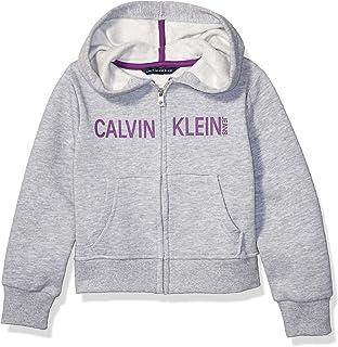 Calvin Klein Girls' Logo Zip Front Hoodie