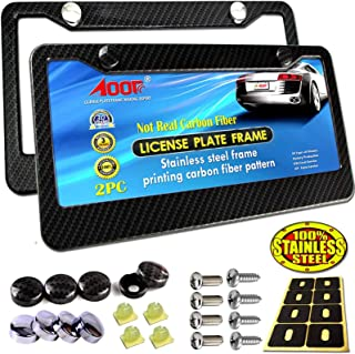 Aootf License Plate Frame Carbon Fiber – 2Pc Black Stainless Steel Plate Frames..