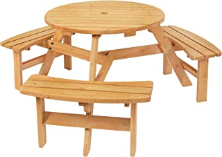 Best Choice Products 6-Person Circular Outdoor Wooden Picnic Table with 3 Built-in Benches and Umbrella Hole, Natural