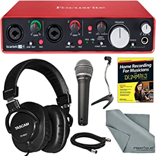 Focusrite Scarlett 2i4 USB Audio Interface (2nd Generation) Bundle with Home Recording for Musicians Guide + Handheld Mic +FiberTique Cloth and More