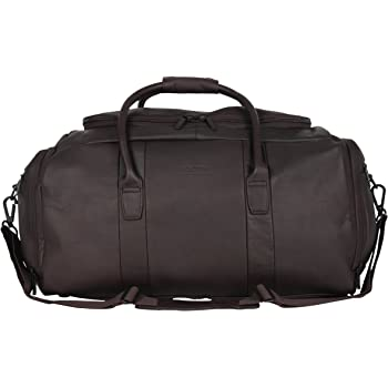 """Kenneth Cole Reaction Duff Guy Colombian Leather 20"""" Single Compartment Top Load Travel Duffel Bag, Brown"""