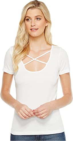 Splendid Short Sleeve Crisscross Tee