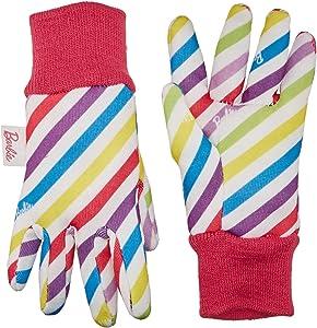 Midwest Quality Gloves Mattel Barbie Kids Garden Cotton Jersey Glove, BA102T, Toddler, Multicolored
