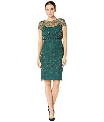 Adrianna Papell Beaded Blouson Cocktail Dress (Dusty Emerald) Women