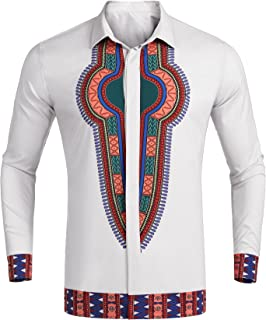 Simbama Men's Dashiki African Print Shirt Long Sleeve Casual Floral Dress Shirt Graphic Button Down Shirt