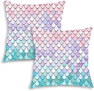 QoGoer Mermaid Throw Pillow Covers Set of 2, 18 x 18 Inch Colorful Mermaid Scales Square Pillow Cases Decorative Velvet Cushion Covers with Hidden Zipper for Couch Sofa Bedroom, Pink Purple Aqua