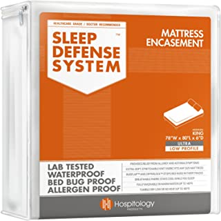 HOSPITOLOGY PRODUCTS Sleep Defense System - Zippered Mattress Encasement - King - Hypoallergenic - Waterproof - Bed Bug & Dust Mite Proof - Stretchable - Ultra Low Profile 6