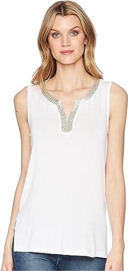 Soft Knit Sleeveless Beaded Top