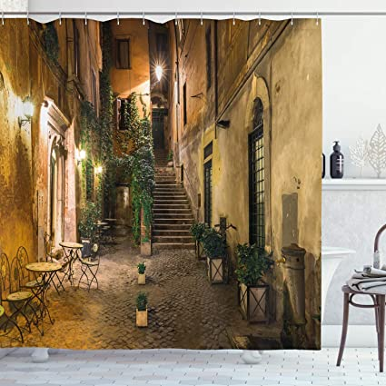 Ambesonne Italian Shower Curtain Old Courtyard Rome Italy Cafe Chairs City Historic Houses In Street Cloth Fabric Bathroom Decor Set With Hooks 70 Long Orange Brown Home Kitchen