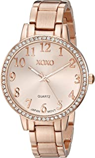 XOXO Womens Quartz Watch, Analog Display and Gold Plated Strap XO5846