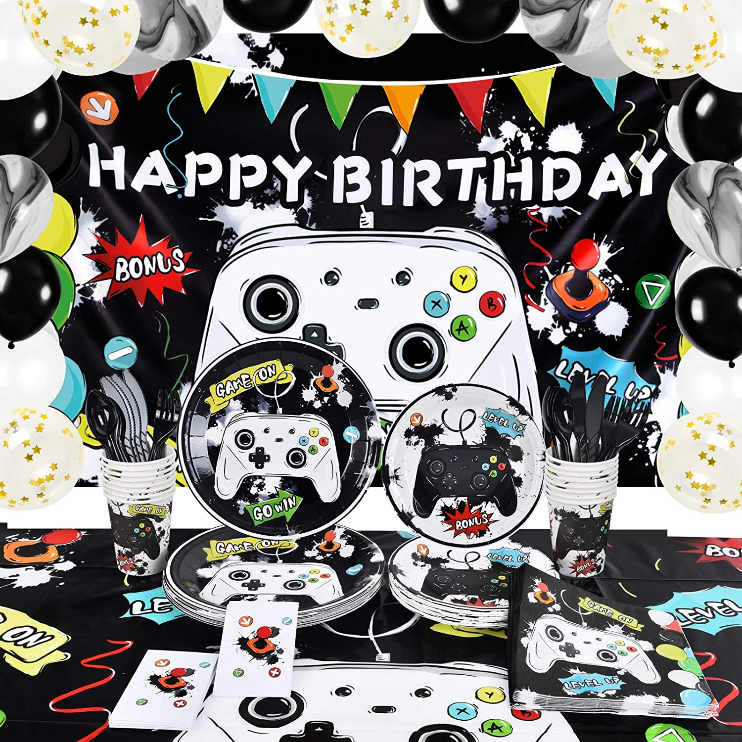 Super-cheap Watercolor Video Game Birthday Party - Long-awaited Theme Supplies