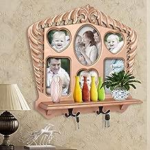 Home Sparkle Wall Shelf W/Photoframe & Hooks Engineered Wood (Golden) (50 x11.5 x45)