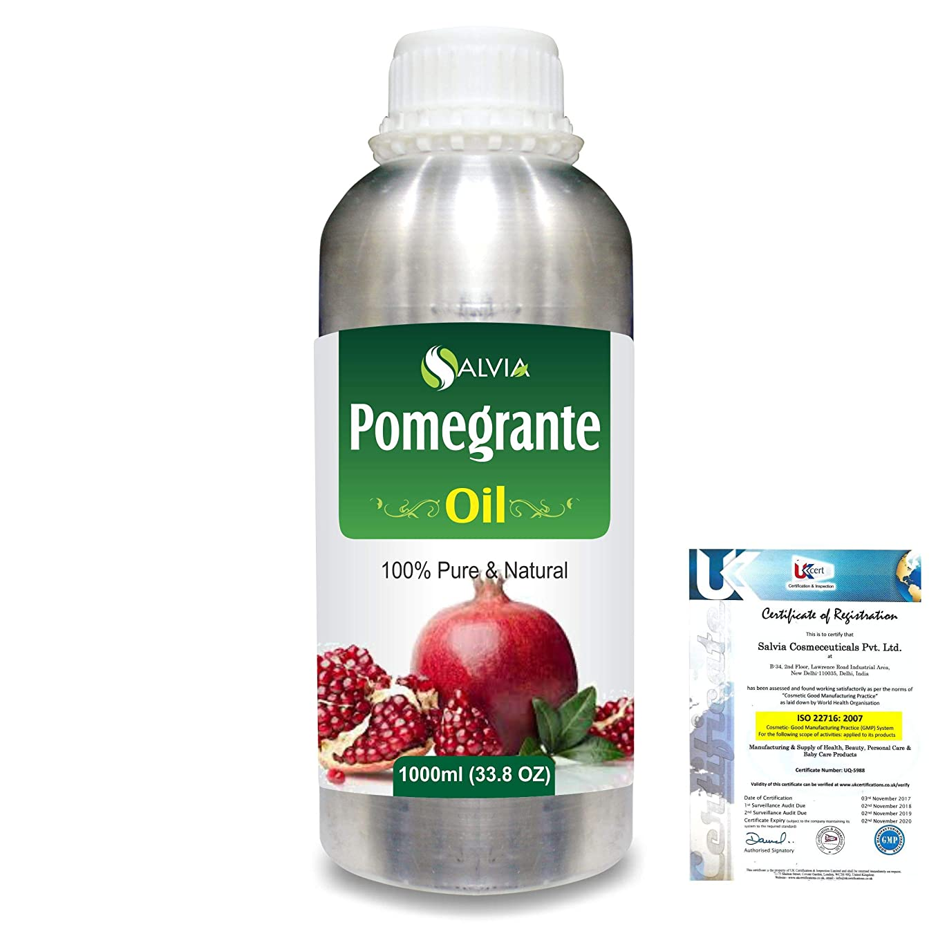 大きさ遺体安置所比喩Pomegranate (Punica Granatum) 100% Pure Natural Carrier Oil 1000ml/33.8fl.oz.