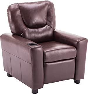 Mcombo Kids Recliner Armchair Children's Furniture Sofa Seat Couch Chair w/Cup Holder 7240 (Dark Brown)