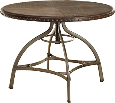 """The Mezzanine Shoppe Decker Modern Adjustable Round Dining Table with Nailhead Trim, 45"""", Brown"""