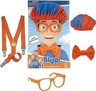 Blippi - Accesorios de juego de roles, perfectos para vestir y jugar - Incluye corbata de lazo naranja icónica, tirantes, ...