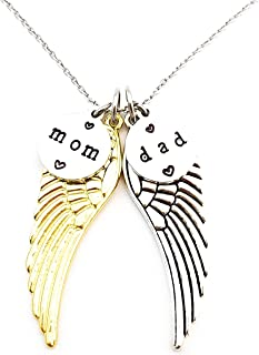 In Memory of Mom and Dad Angel Wings Mixed Metal Long Necklace 30 Inches Length