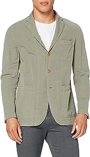 HKT by Hackett London Men's Hkt GMD Co/Linen Slub Blazer, Green (Light Khaki 715), 30 (Size: 46/Regular)