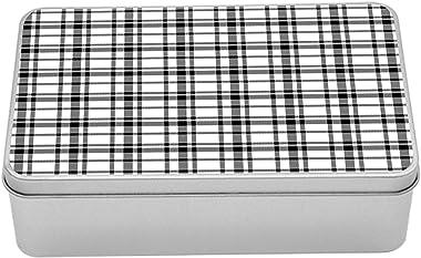 Lunarable Retro Tin Box, Vintage British Tartan Pattern Classic Checkered Minimalist Fashion Artisan, Portable Rectangle Meta
