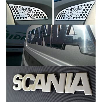 En relieve 3d espejo pulido acero inoxidable Scania R 2010/ /2016/OEM Fit Frente Sign Badge,