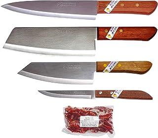 Kiwiandkom 288#21#171#501 - Juego de 4 cuchillos de cocina Kiwi Thai Chilli (30 g de tiburón)