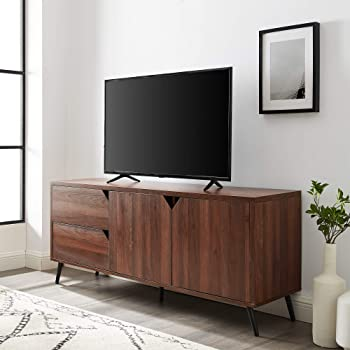 """Walker Edison Furniture Company Asymmetrical Wood Stand with Cabinets and Drawers 64"""" Flat Screen Universal TV Console Living Room Storage Shelves Entertainment Center, 60 Inch, Walnut Brown"""