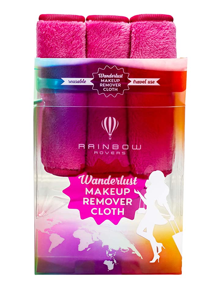 RAINBOW ROVERS Set of 3 Makeup Remover Wipes | Reusable & Ultra-fine Makeup Wipes | Suitable for All Skin Types | Removes Makeup with Water | Free Bonus Waterproof Travel Bag | Hot Pink