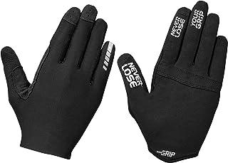 GripGrab Aerolite Insidegrip Long-Finger Professional MTB Gloves-Unpadded Anti-Slip Mountain-Bike Off-Road, Black and Red