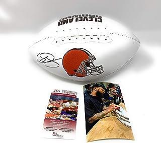 Odell Beckham Jr Cleveland Browns Signed Autograph Embroidered Logo Football JSA Witnessed Certified