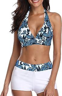 Zando Bikini Swimsuit for Women Boyshort Two Piece Bathsuit Athletic V Neck Swimwear Vintage Halter Swimming Suits