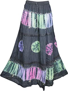 Mogul Interior Womens Maxi Skirt Tie Dye Black A-line Gypsy Flare Skirts S/M