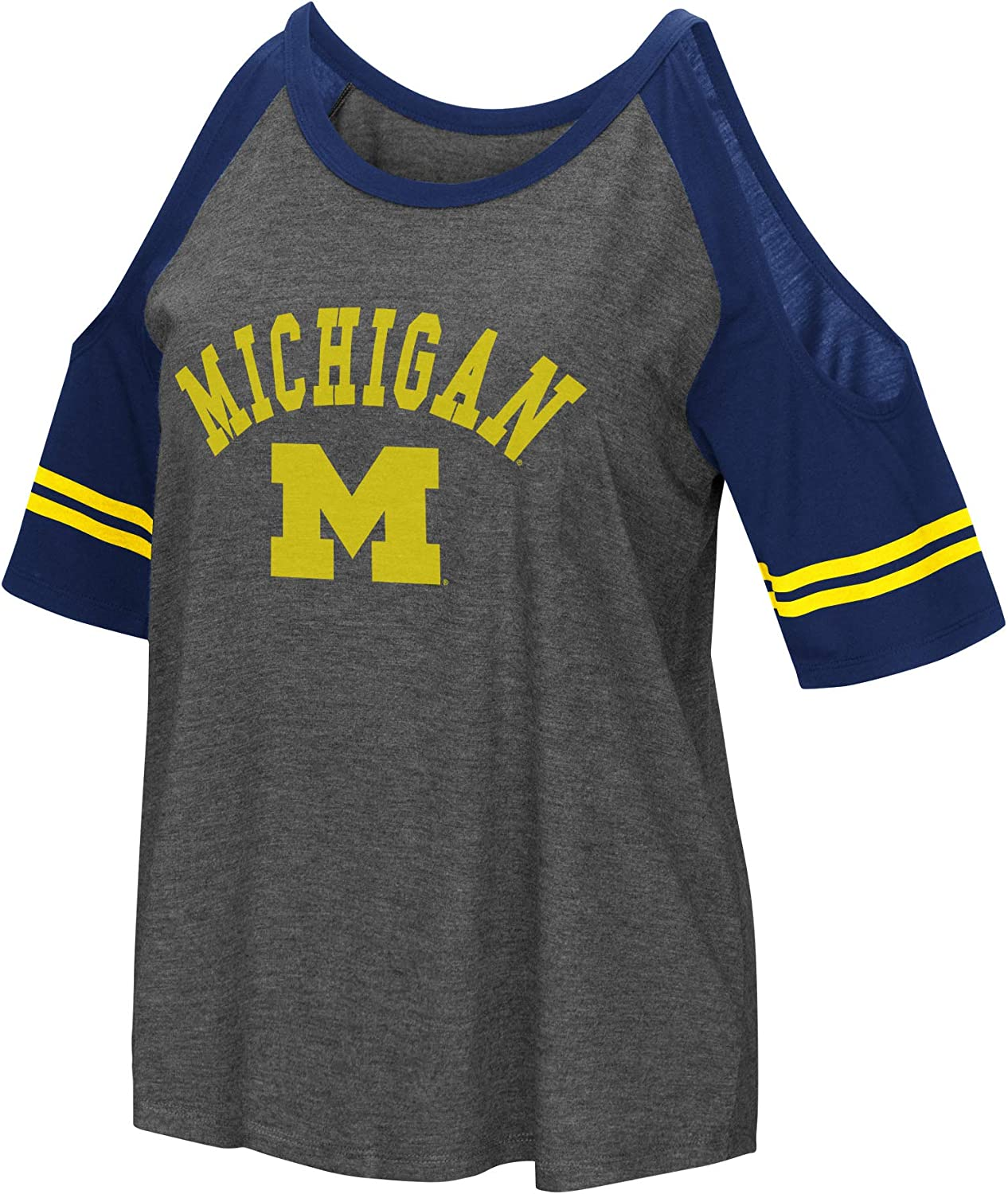 Colosseum NCAA Womens Casual Cold Shoulder Short Sleeve T-Shirt-Heather Charcoal