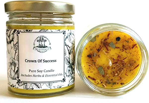 Crown Of Success 8 Oz Soy Herbal Spell Candle For Prosperity Achievement Obtaining Goals Wiccan Pagan Hoodoo Magick