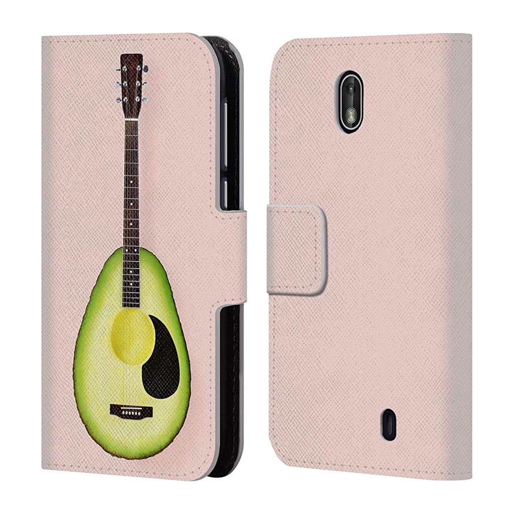 Official Paul Fuentes Avocado Guitar Pastels Leather Book Wallet Case Cover Compatible for Nokia 1