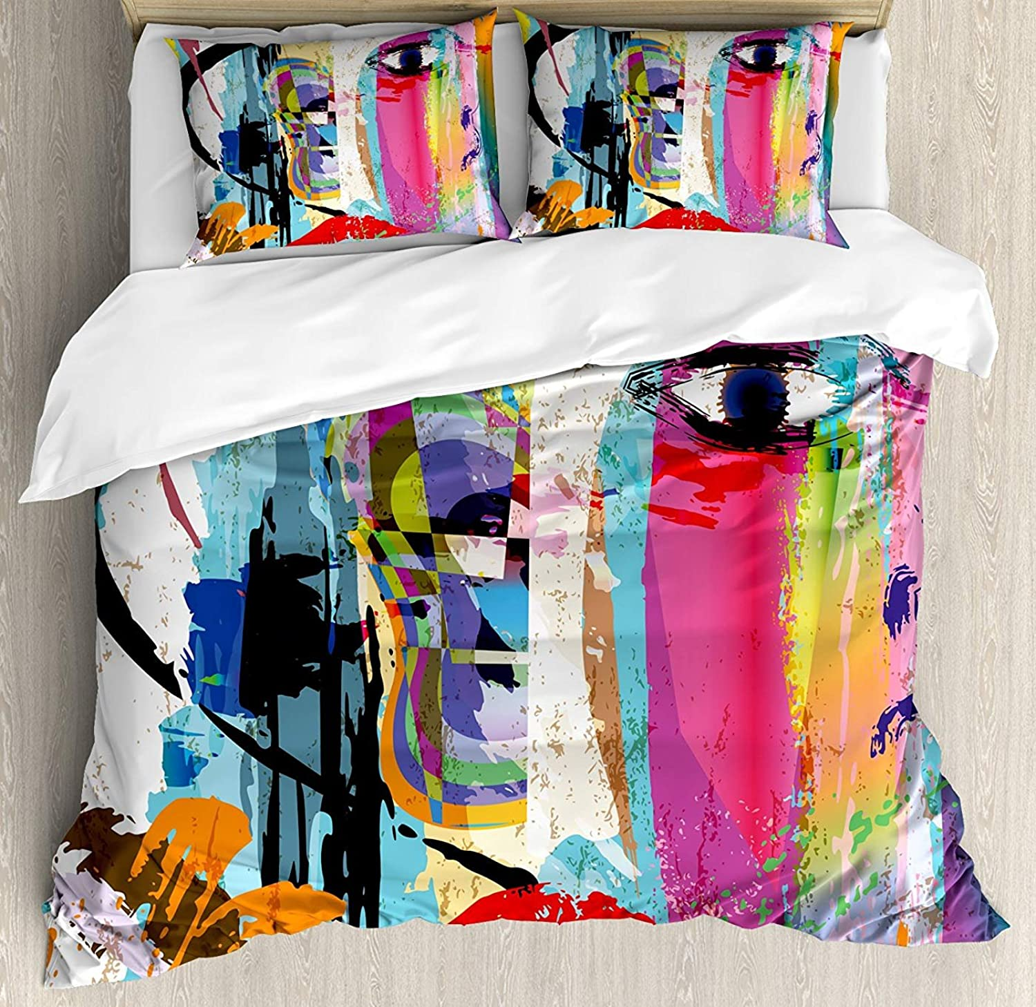 Art Duvet Cover Set Queen Size, Contemporary Paint Strokes Splashes Face Mask Paint Kiss Graffiti Grunge Creative Theme,Lightweight Microfiber Duvet Cover Sets, Multicolor