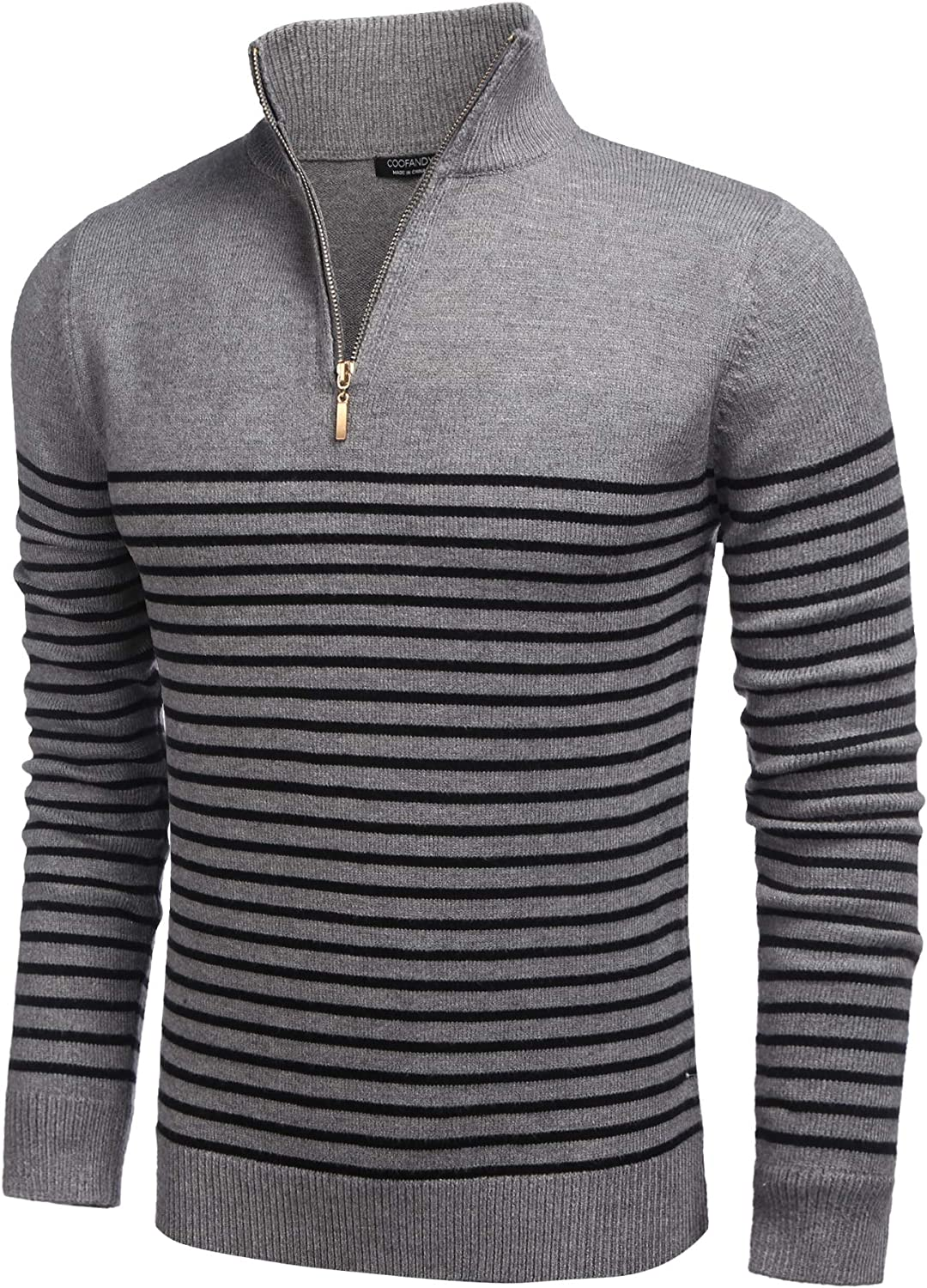 COOFANDY Under blast sales Mens Striped Zip Up Mock Max 64% OFF Neck Casual Slim Polo Sweater