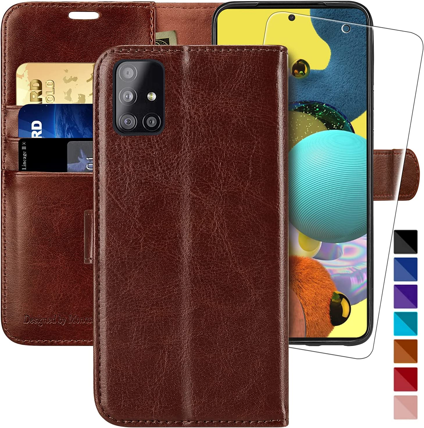 Galaxy A51 Wallet Case [5G Version],MONASAY [Included Glass Screen Protector] Flip Folio Leather Cell Phone Cover with Credit Card Holder for Samsung Galaxy A51 5G