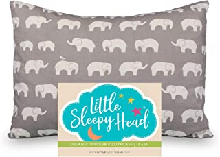 Little Sleepy Head Toddler Pillowcase 13x18-100% Organic Cotton & Hypoallergenic - Happy Elephants